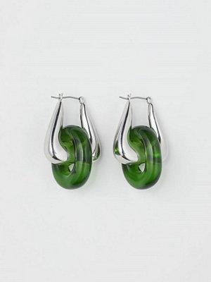 H&M Örhängen med glasring grön