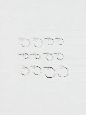 H&M 6 par örhängen silver