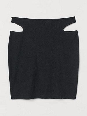 H&M Ribbad minikjol svart