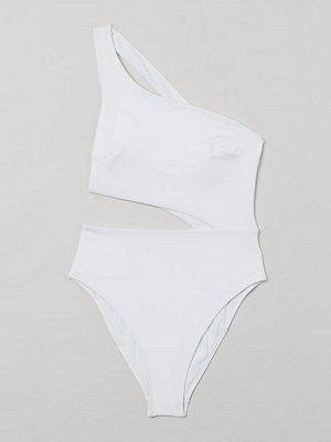 H&M One shoulder-baddräkt High leg vit