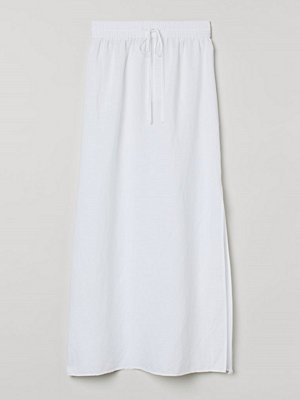 H&M Lång kjol i linmix vit
