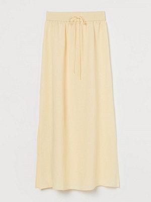 H&M Lång kjol i linmix gul