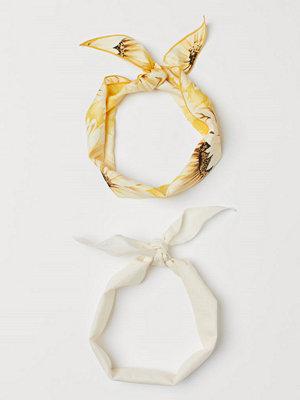 H&M 2-pack scarf/hårband gul
