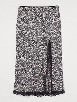 H&M Satinkjol med spets svart
