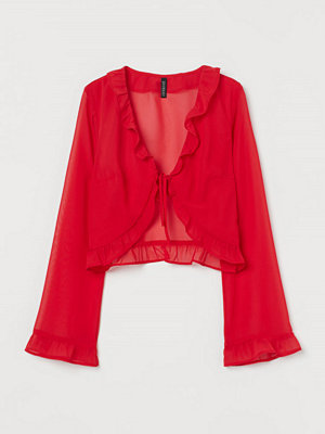 H&M Chiffongblus med volanger röd