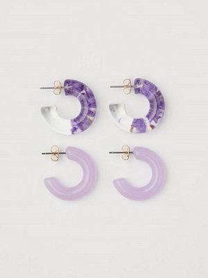 H&M 2-pack runda örhängen lila