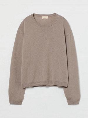 H&M Finstickad tröja i kashmir brun