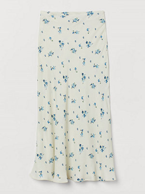 H&M Blommig kjol vit