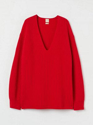 H&M Ribbstickad tröja i ull röd