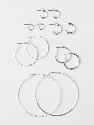 H&M 6 par runda örhängen silver