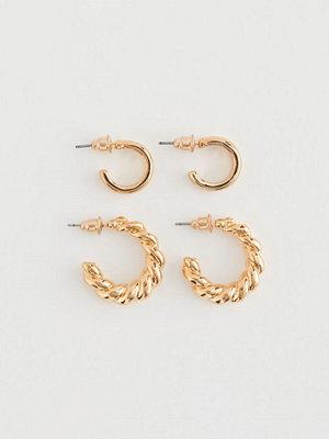 H&M 2 par runda örhängen guld