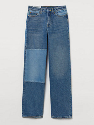 H&M Loose Straight High Jeans blå