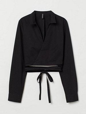 H&M Omlottblus med knytband svart