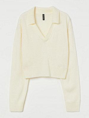 H&M Stickad tröja med krage vit