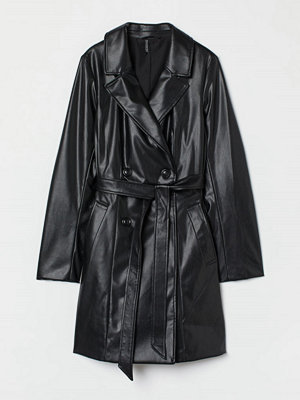 H&M Trenchcoat i läderimitation svart