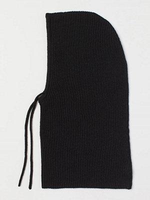 H&M Stickad huva svart