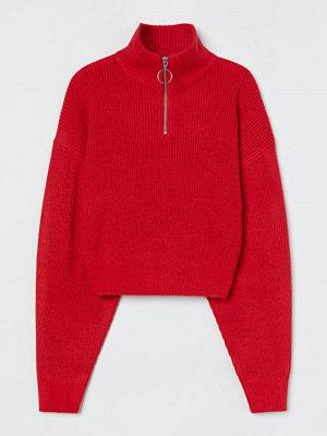 H&M Ribbad tröja med ståkrage röd