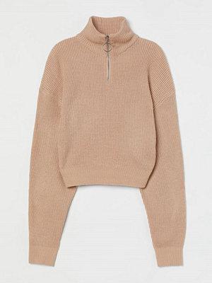 H&M Ribbad tröja med ståkrage beige