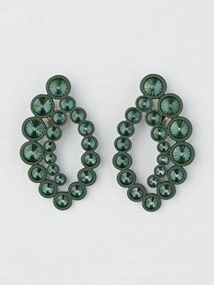 H&M Clipsörhängen med strass grön