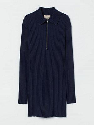 H&M Ribbstickad tröja i merinoull blå