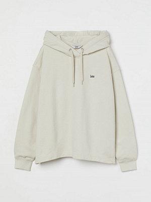 H&M Loose Hoodie med liten logo vit