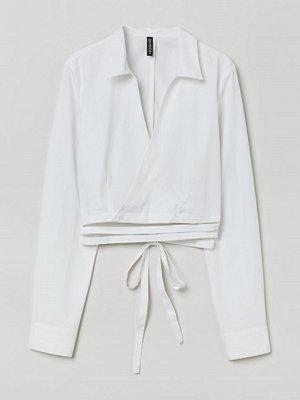 H&M Omlottblus med knytband vit