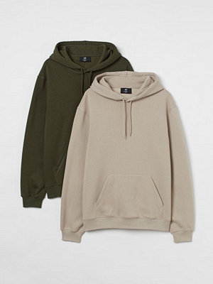 H&M 2-pack huvtröja Relaxed Fit brun