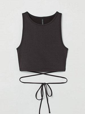 H&M Ribbad tanktop med knytband grå