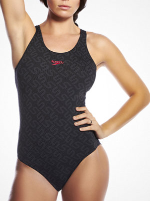 Speedo Monogram Pullback Swimsuit Black