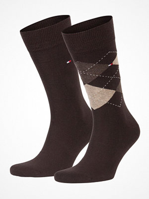 Tommy Hilfiger 2-pack Men Sock Check Brown