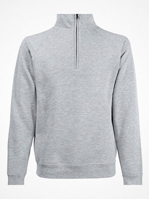Fruit of the Loom Zip Neck Sweat Greymarl