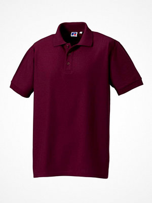 Russell M 100% Cotton Durable Polo Wine red