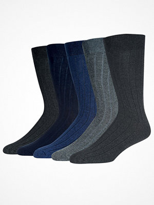 Strumpor - Wolsey 5-pack Cotton Rib Socks Blue/Grey