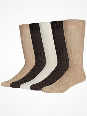 Strumpor - Wolsey 5-pack Cotton Rib Socks Natural/Beige