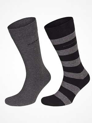 Strumpor - Hugo Boss 2-pack Design Ribbed Socks Greystriped
