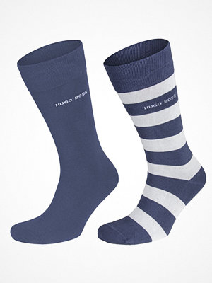 Strumpor - Hugo Boss 2-pack Design Ribbed Socks Blue Striped