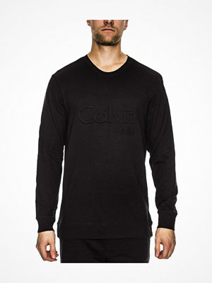Pyjamas & myskläder - Calvin Klein Embroidered Logo Sweatshirt Black
