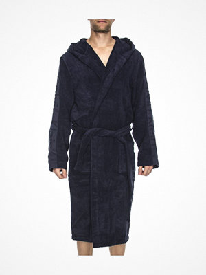 Morgonrockar - Calvin Klein Terry Logo Hooded Robe Darkblue