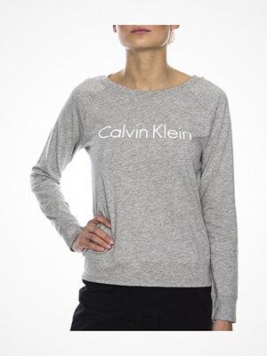 Pyjamas & myskläder - Calvin Klein Cotton Coordinating Top LS Curve Neck Grey