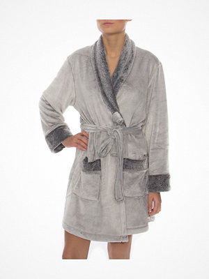 Morgonrockar - DKNY Signature Short Robe Grey