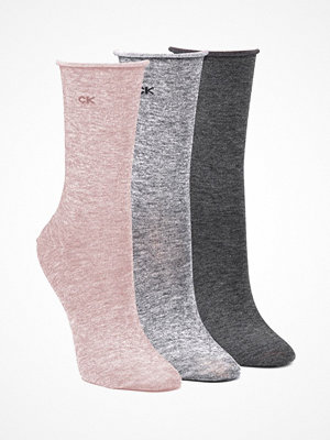 Strumpor - Calvin Klein 3-pack Emma Roll Top Crew Socks Pink/Grey