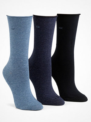 Calvin Klein 3-pack Emma Roll Top Crew Socks Navy/Blue