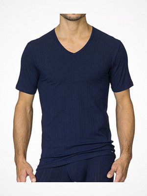Pyjamas & myskläder - Calida Pure & Striped V-Neck T-Shirt Darkblue
