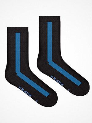 Frank Dandy Bamboo Vertical Crew Sock  Black/Blue