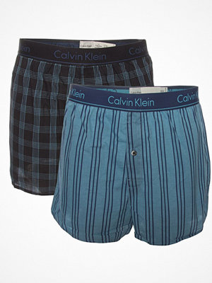 Calvin Klein 2-pack Slim Fit Woven Boxer Black/Blue