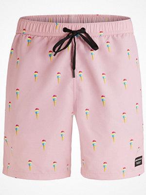 Badkläder - Björn Borg Swim Loose Shorts  Pink Pattern
