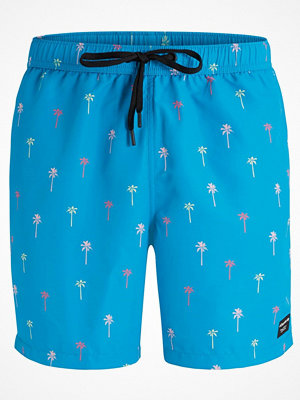 Badkläder - Björn Borg Swim Loose Shorts Mini Palm Blue