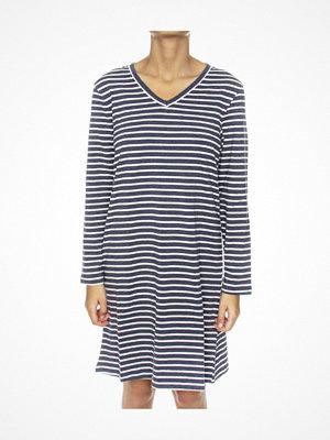 Nattlinnen - Missya Lounge Dress Long Sleeve Blue/White