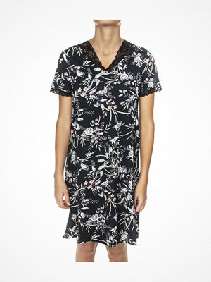 Trofé Trofe Modal Nightdress Short Sleeve Black pattern-2