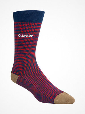 Calvin Klein Elroy Hounds Tooth Dress Crew Socks Red Pattern-2